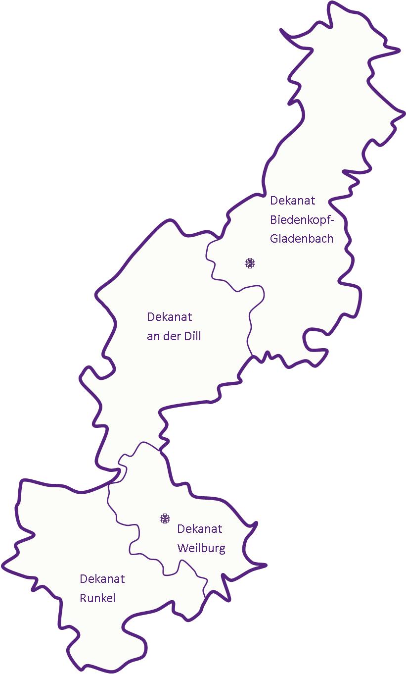 Karte Verwaltungsregion der Evangelischer Regionalverwaltungsverband Nassau Nord